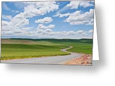 Road Winding Through The Palouse Wheatfields Greeting Card