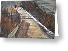Road With Dense Fencing  Greeting Card