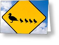 Roadsign Warning Ducks With Ducklings Crossing Greeting Card