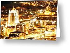 Roanoke City Lights Greeting Card by Scott Ware