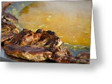 Roasted Steak In Traditional Kotlovina Dish Greeting Card