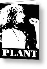 Robert Plant Black And White Pop Art Greeting Card