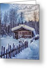 Robert Service Cabin Winter Idyll Greeting Card by Priska Wettstein