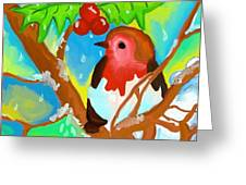 Robin On A Branch Greeting Card