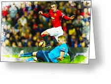 Robin Van Persie Of Manchester United Greeting Card
