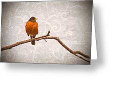 Robin With Damask Background Greeting Card