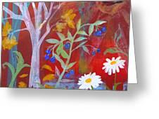 Robin's Blueberry Daisy Sunshiny Day Greeting Card