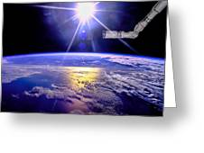 Robot Arm Over Earth With Sunburst  Greeting Card