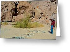 Rock Arrow And Terry Directing Into Ladder Canyon From Big Painted Canyon Trail In Mecca Hills-ca  Greeting Card