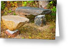 Rock Bench And Table Greeting Card