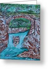 Rock Bridge Over Falls Greeting Card
