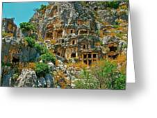 Rock-carved Tombs In Myra-turkey Greeting Card