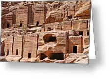 Rock Cut Tombs On The Street Of Facades Petra Jordan Greeting Card