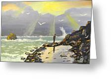 Rock Fishing At Wombarra  Greeting Card