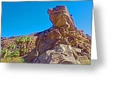 Rock Formation Higher Than Fan Palms Along Lower Palm Canyon Trail In Indian Canyons Near Palm Sprin Greeting Card