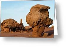 Rock Formations And Abandoned Building Greeting Card