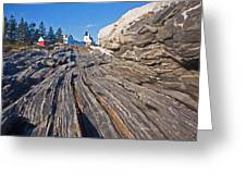 Rock Formations At Pemaquid Point Light Greeting Card