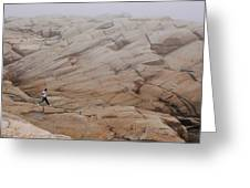 Rock Jogger At Peggy's Cove Greeting Card