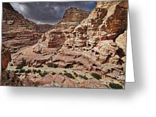 rock landscape with simple tombs in Petra Greeting Card
