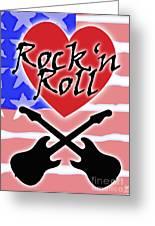 Rock N Roll Stars N Stripes Greeting Card