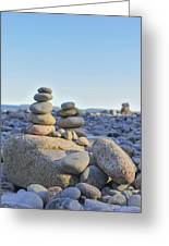 Rock Piles Zen Stones Little Hunters Beach Maine Greeting Card