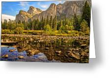 Rock Reflections On The Merced Greeting Card