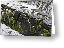 Rock Wall With Moss And A Dusting Of Snow Art Prints Greeting Card