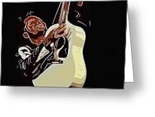 Rockabilly Electric Guitar Player  Greeting Card by Tommytechno Sweden