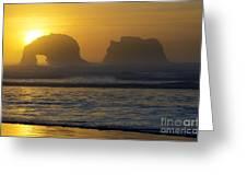 Rockaway Beach Oregon Turning The Sky To Gold Greeting Card