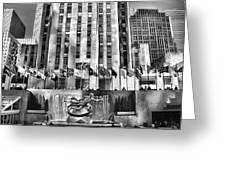 Rockefeller Center Black And White Greeting Card