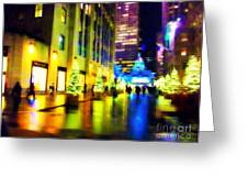 Rockefeller Center Christmas Trees - Holiday And Christmas Card Greeting Card