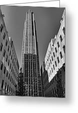 Ge Building In Black And White Greeting Card