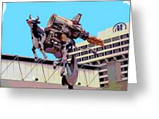 Rocket Cow Sculpture By Michael Bingham Greeting Card