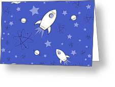 Rocket Science Dark Blue Greeting Card