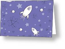Rocket Science Purple Greeting Card