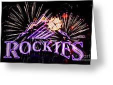 Rockies And Fireworks Greeting Card by Bob Hislop