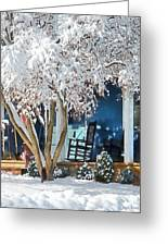 Rocking Chair On Porch In Winter Greeting Card
