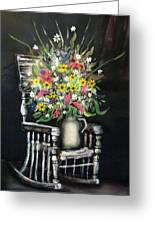 Rocking Chair With Flowers Greeting Card by Kendra Sorum