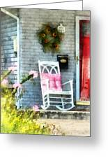 Rocking Chair With Pink Pillow Greeting Card by Susan Savad