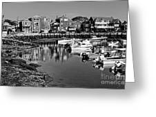 Rockport Harbor - Bw Greeting Card
