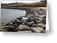 Rocks Along The Shore At Sandy Point Greeting Card