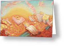 Rocks And Sunset In Desert Greeting Card