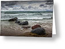 Rocks And Waves At Wilderness Park In Sturgeon Bay Greeting Card