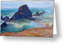 Rocks Heading North - Scenic Landscape Seascape Painting Greeting Card