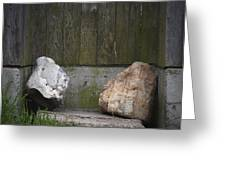 Rocks Near A Wooden Fence Greeting Card