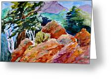 Rocks Near Red Feather Greeting Card