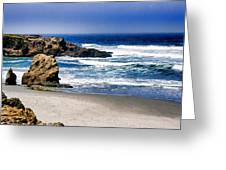 Rocky Beach Blue Mendocino Greeting Card