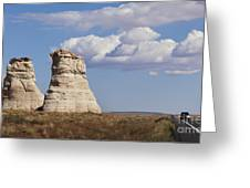 Rocky Buttes Protrude From The Middle Of Arizona Landscape Greeting Card