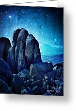 Rocky Cliff In Starlight Greeting Card