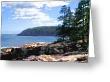 Rocky Coast .  Impressionistic  Greeting Card by Ann Powell